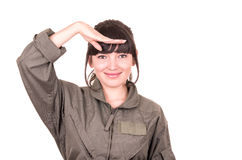 Beautiful young female pilot wearing uniform Royalty Free Stock Photography