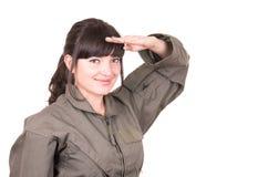 Beautiful young female pilot wearing uniform Royalty Free Stock Photo