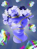 Beautiful Young Female Pink Face And Colorful Flowers On Textured Background . Plaster Antique Bust Of Venus In A Floral Stock Photos