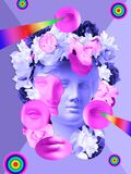 Beautiful Young Female Pink Face And Colorful Flowers On Textured Background . Plaster Antique Bust Of Venus In A Floral Royalty Free Stock Image