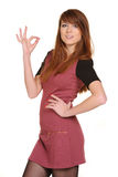 Beautiful young female showing a thumbs up Royalty Free Stock Images