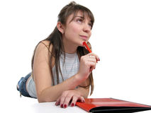 Beautiful young female student Stock Photo