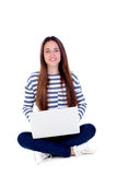 Beautiful young female student with a laptop Stock Image