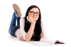 Student lying and studying Stock Photos