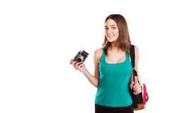 Beautiful young female student posing with Royalty Free Stock Photo