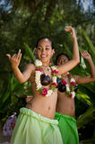 Beautiful Young Female Tahitian Dancers Royalty Free Stock Image