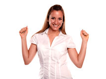 Beautiful young female with a winning attitude Stock Image