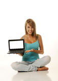 Beautiful Young Female With Laptop Royalty Free Stock Photography