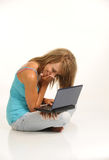 Beautiful Young Female With Laptop Stock Image
