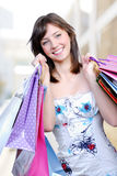 Beautiful young femlae  with bags Stock Photo