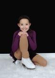 Beautiful young figure skater posing Stock Photo