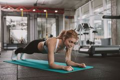 Beautiful young fitness woman working out at the gym stock photo
