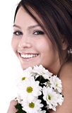 Beautiful young with flower looking. Royalty Free Stock Image