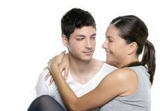 Beautiful young fresh modern couple hug on white Royalty Free Stock Photography