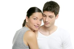 Beautiful young fresh modern couple hug on white Royalty Free Stock Image