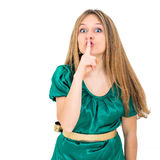 Beautiful young fresh woman hushing Stock Images