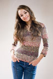 Beautiful young friendly brunette. Royalty Free Stock Image