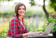 Beautiful young garden manager Royalty Free Stock Photo