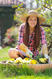 Beautiful young gardener Stock Images