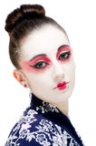 Beautiful young Geisha girl. Image showing pretty young geisha girl isolated against white Royalty Free Stock Photos