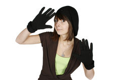 Beautiful young girl. Beautiful surprised girl in black beret and gloves stock photography