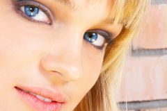 Beautiful young girl. The blonde with blue eyes Stock Photography