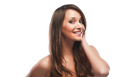 Beautiful young girl. With long hair on white background Stock Images