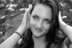 Beautiful young girl 8 bw Stock Images