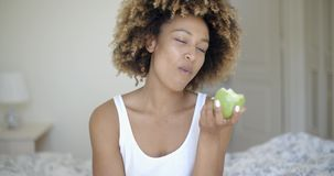Beautiful Young Girl With Apple stock video