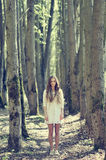Beautiful young girl on autumn forest in dress Stock Photography