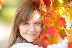 Beautiful young girl with autumn leaves Stock Photo