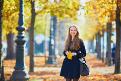 Beautiful young girl in autumn park Stock Images