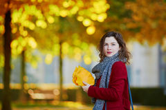 Beautiful young girl in autumn park. With golden foliage on a sunny fall day, holding yellow leaves in her hands stock photography