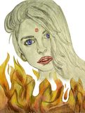 Beautiful young girl on the background of fire graphics. Children`s artwork Royalty Free Stock Photo