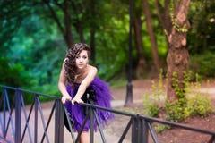 Beautiful young girl in a beautiful dress outdoor Stock Image