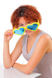 Beautiful young girl with big sunglasses Stock Photos