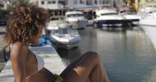 Wonderful fit woman on seashore stock footage