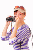 Beautiful young girl with binoculars in her hands Stock Image