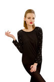 Beautiful young girl in a black blouse Stock Photos