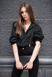 Beautiful girl on the street. royalty free stock photos
