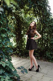Beautiful young girl in black dress with long hair, super cute a Royalty Free Stock Photography