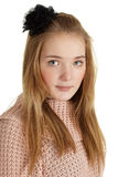 Beautiful young girl with black mourning bow Stock Images