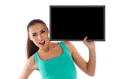 Beautiful young girl with black scoreboard Royalty Free Stock Image