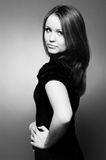 Beautiful young girl, black and white Royalty Free Stock Image
