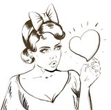 Beautiful young Girl with bow and vintage hair style holding big heart, Hand drawn illustration, Vector sketch royalty free illustration