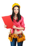 Beautiful young girl-builder  holding folder Royalty Free Stock Image