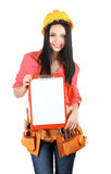 Beautiful young girl-builder  holding folder Stock Image