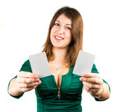 Beautiful young girl in casino Stock Images