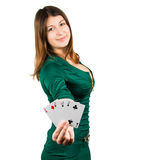 Beautiful young girl in casino Royalty Free Stock Image