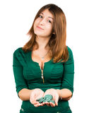 Beautiful young girl in casino Royalty Free Stock Images